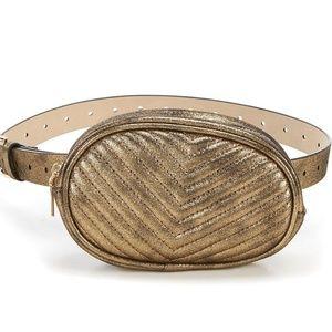 🆕  Steve Madden Metallic Chevron Quilted Belt Bag